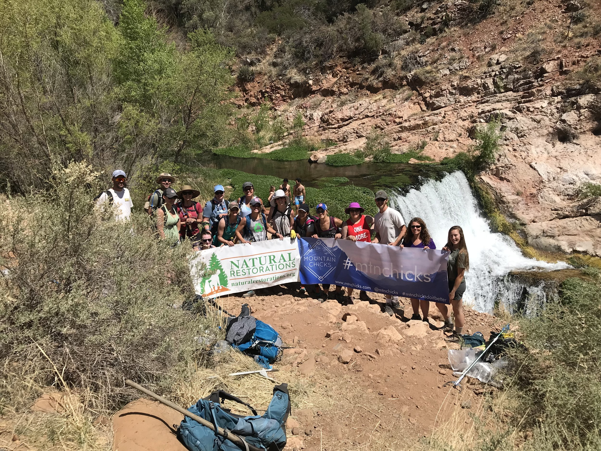 04/22/18 - Earth Day Cleanup at Fossil Springs with Mountain Chicks.Click HERE to view the entire restoration.