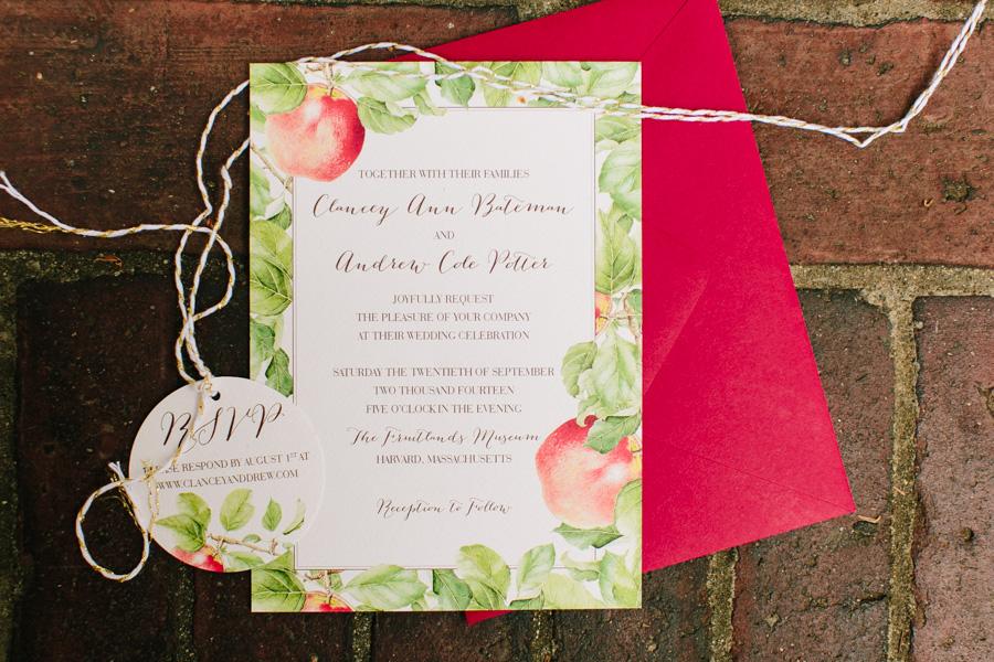 Fruitlands Museum Wedding Invitation