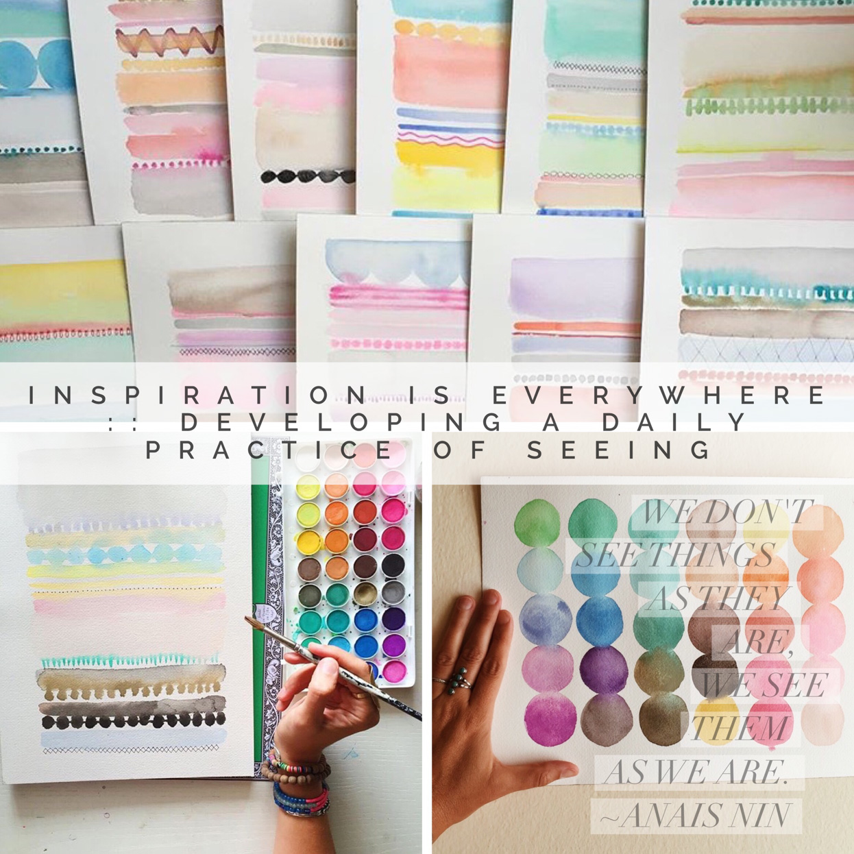 #1: Inspiration is Everywhere :: - Developing a Daily Practice of SeeingThis Online Painting Workshop will lead you into the topic of Watercolor Painting as a tool for developing a daily practice of seeking & finding inspiration everywhere. We'll begin the class with video visits with Faith and Mati in their studios, where they'll discuss their favorite supplies. Then you'll receive 6 long video painting demo…