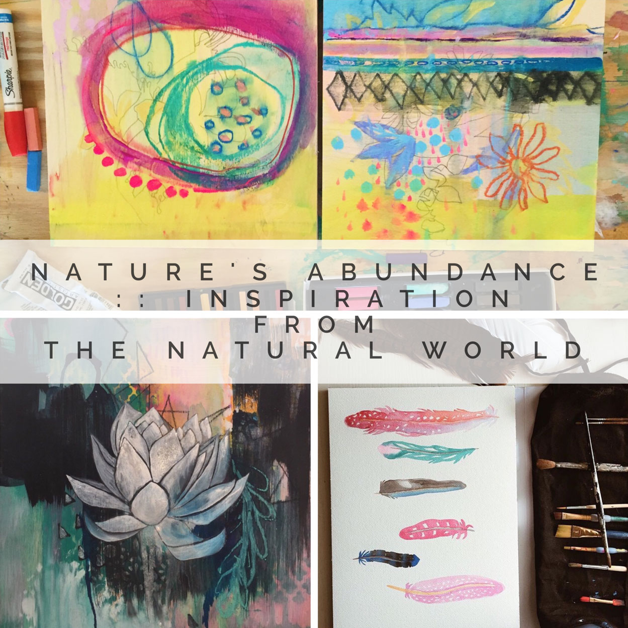 #3: Natures Abundance :: - Inspiration From the Natural WorldThis Painting the Sacred Within Episode is the perfect Companion to Chapter 3 in our book! All of these lessons will help you go deeper into the topic of Gathering Inspiration from the Natural World! With tips and tricks, lots of painting videos, a bonus unit on creating nature mandalas, we'll dive deeply into this topic. You'll receive 5 long start to finish demo painting videos…