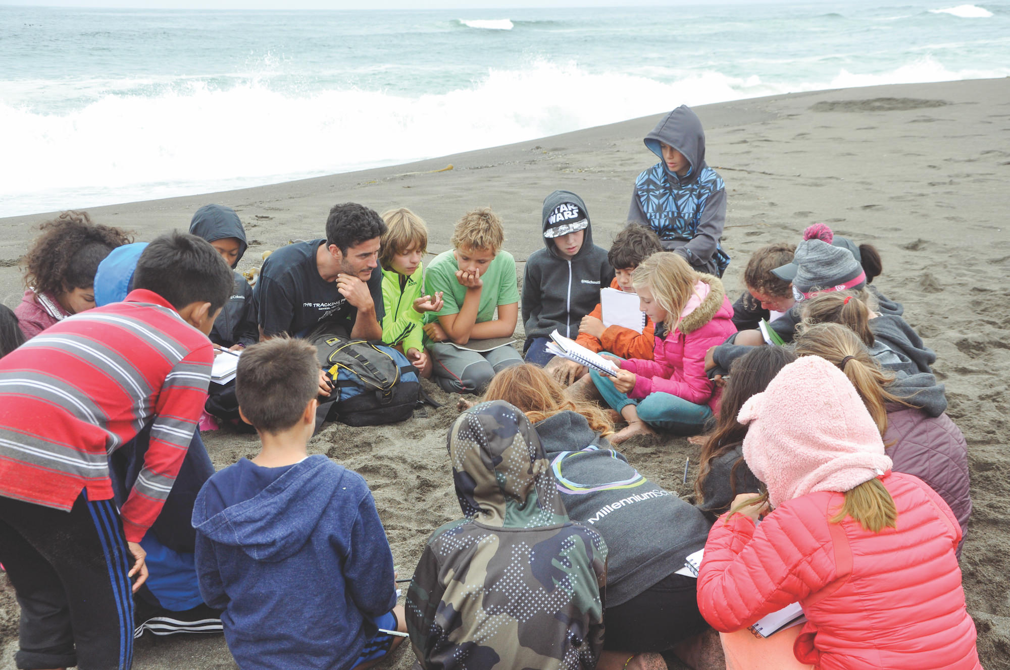 students learn on a beach in california.JPG