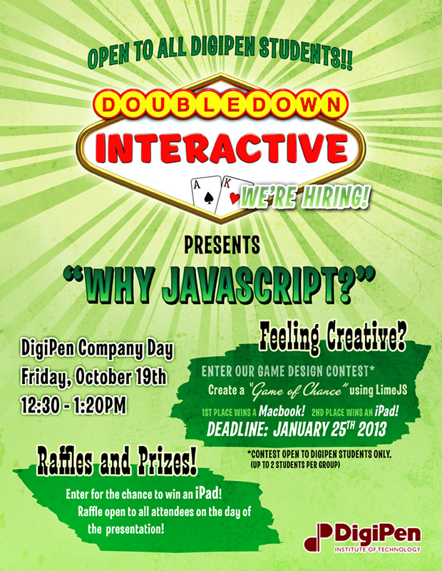 Design for a printed flyer, detailing a Game Design Contest hosted by DoubleDown Interactive