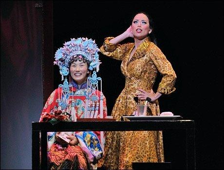 Michelle as Mei Li and Emily Hsu as Linda Low in Flower Drum Song