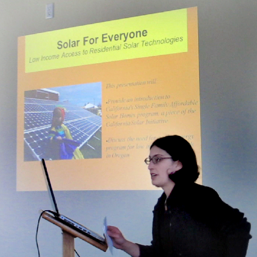 Emily presenting about solar energy policy in Oregon