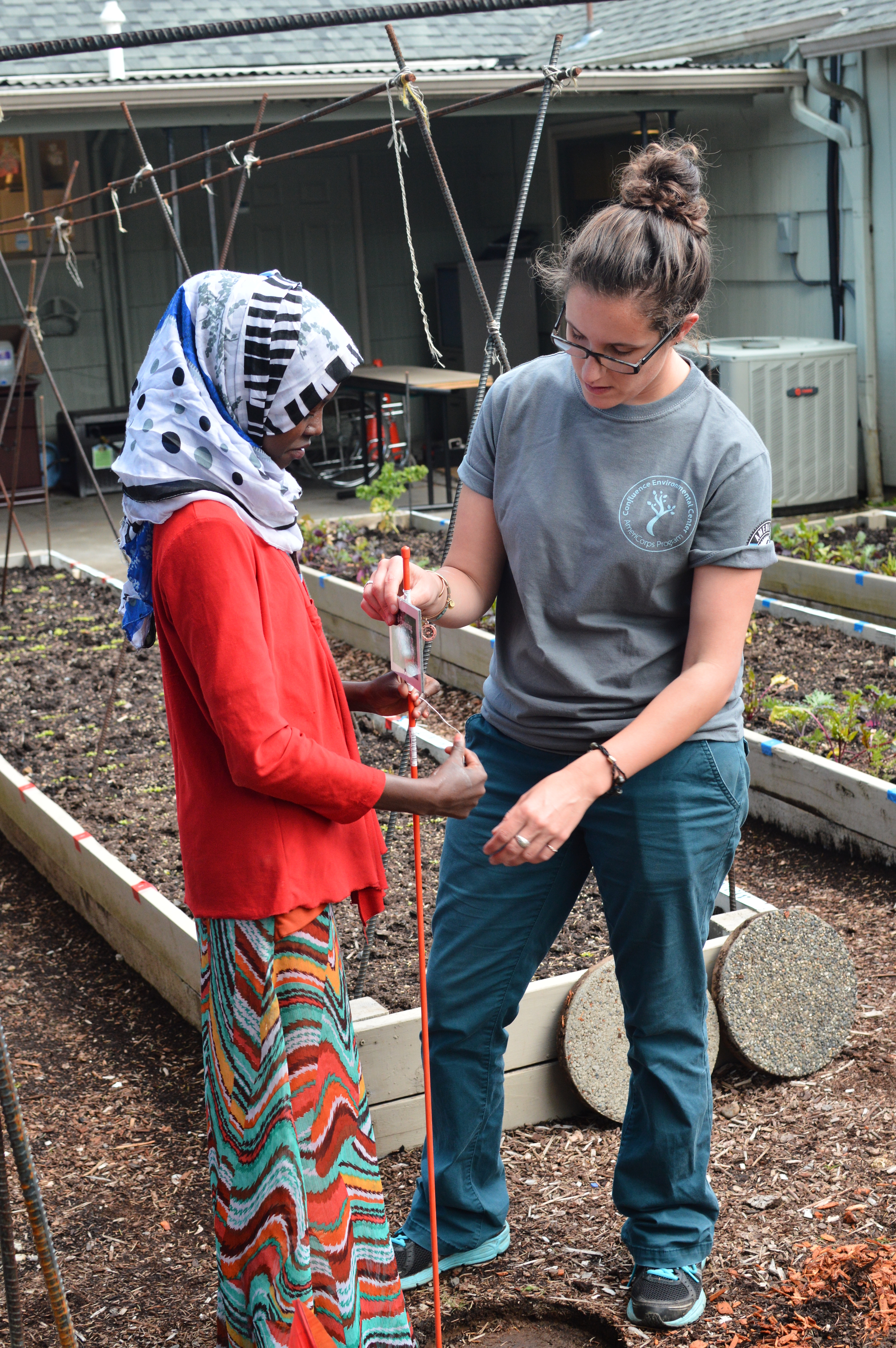 Chelsea leads a garden work party for IRCO