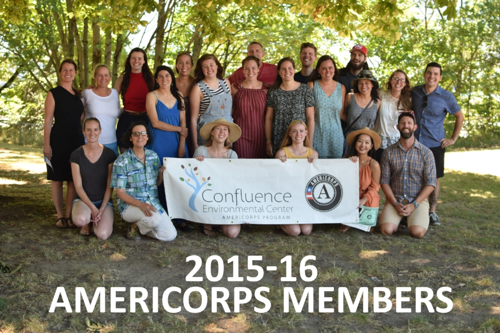 The 2015-16 AmeriCorps team, minus Meredith and Lindsay who weren't able to attend.
