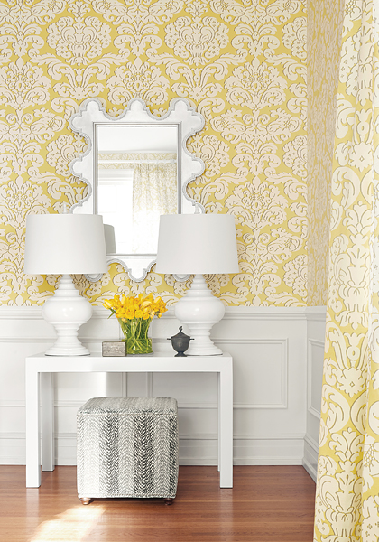 Thibaut-Trelawny Damask in yellow