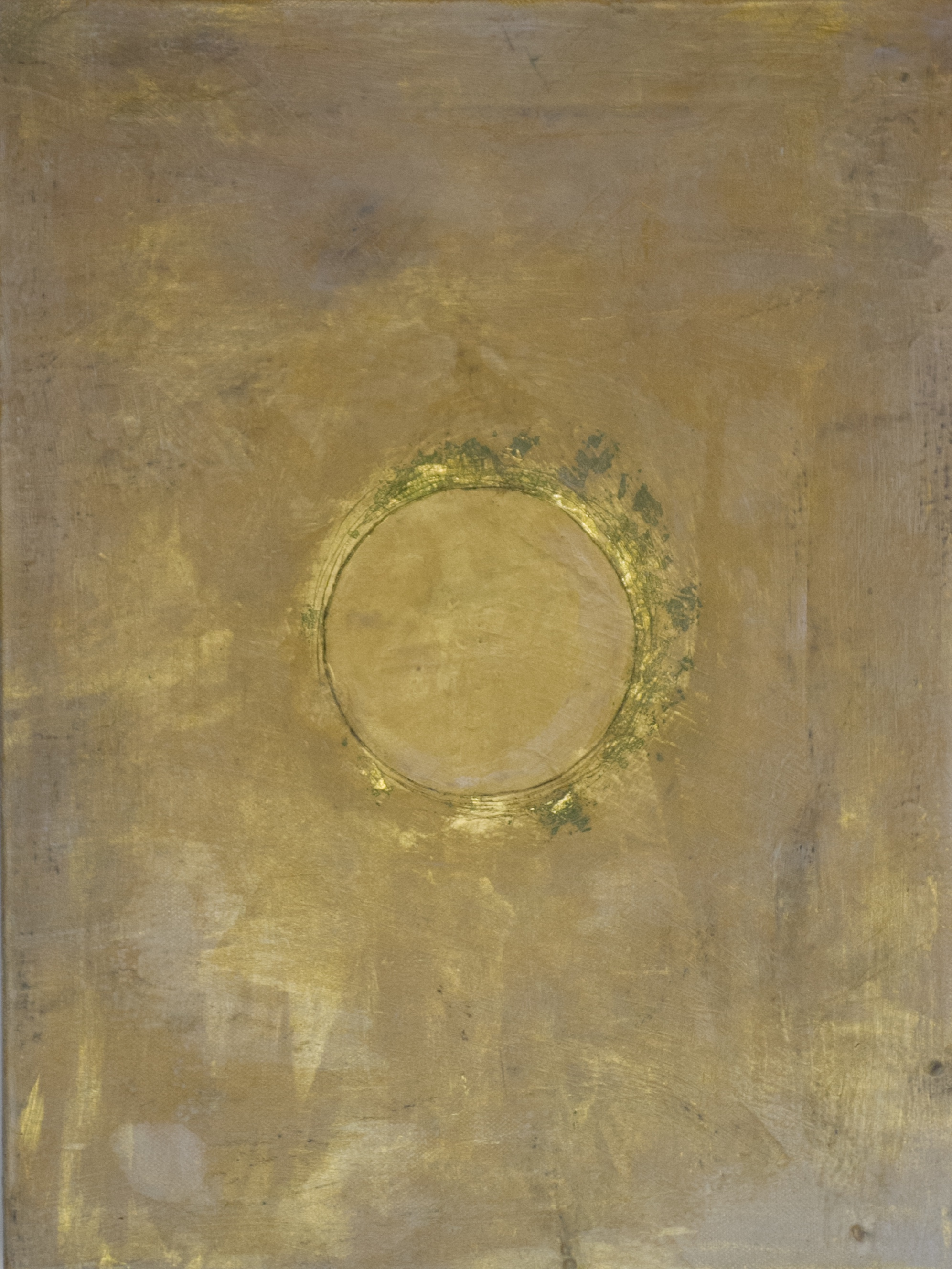 Eclips. By Joanna Ahlman. Oil, Acrylic and gold leaf on canvas. 12x16in. $80.00