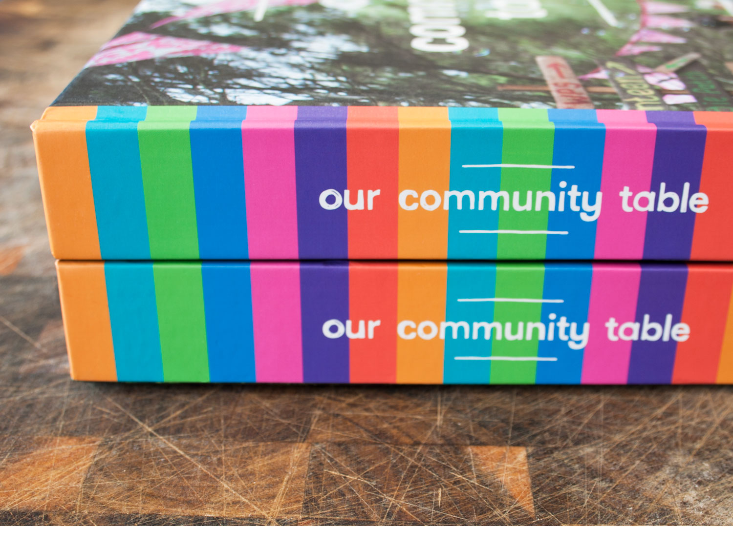 our community table cookbook spine design