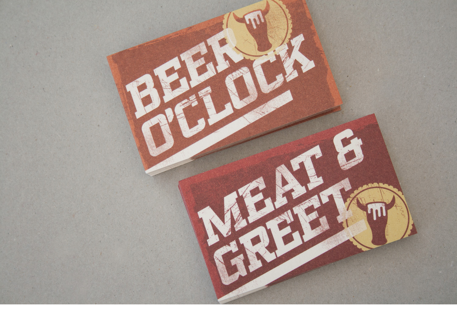 The Beer and burger lounge business card backs