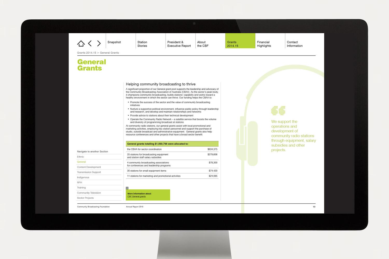 CBF Annual Report grants