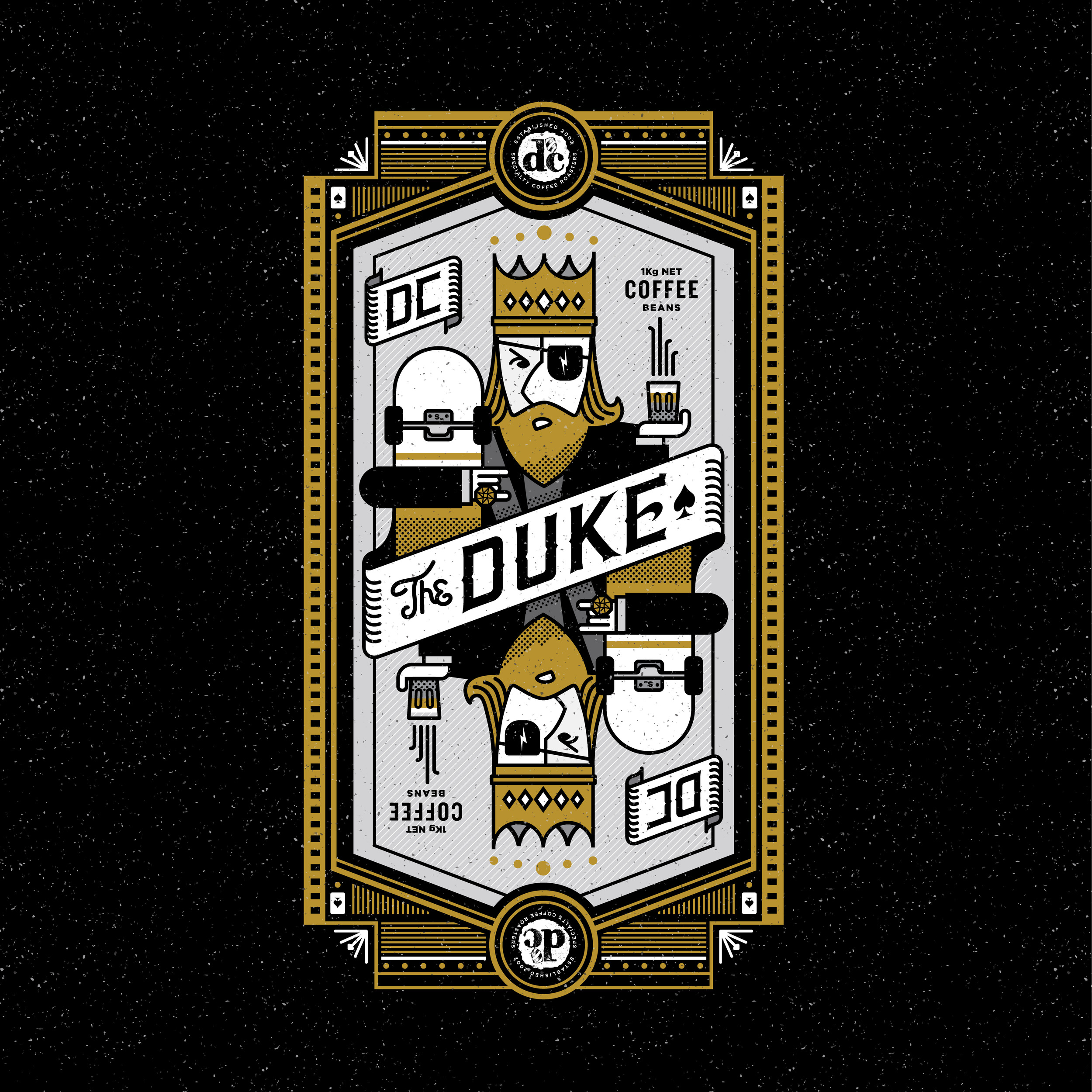 dc coffee roasters the duke, illustrations by created by south, design and development created by south, packaging, illustration, coffee design