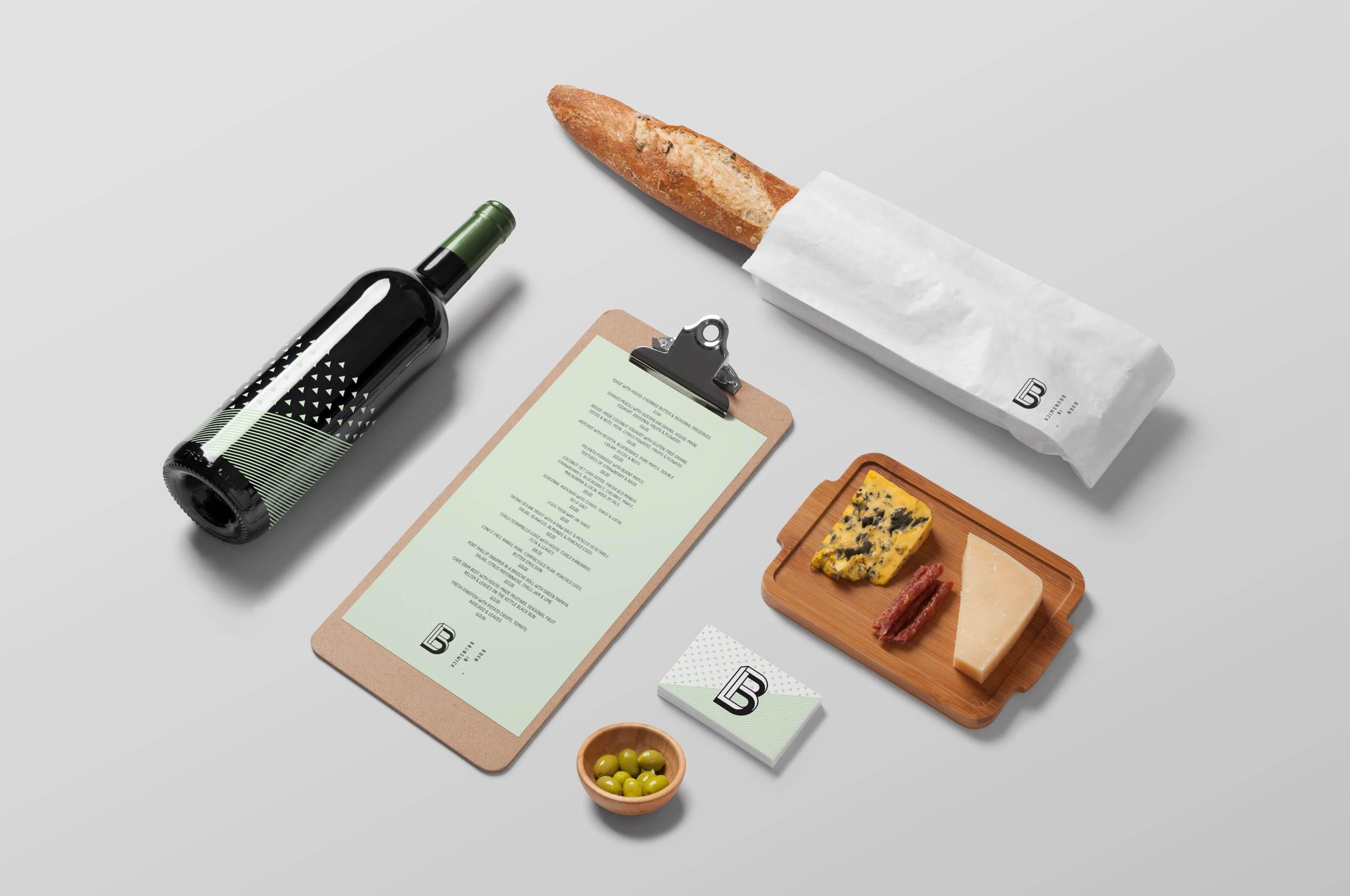 Born in Brunswick, wine bottle design, menu design, restaurant design by created by south