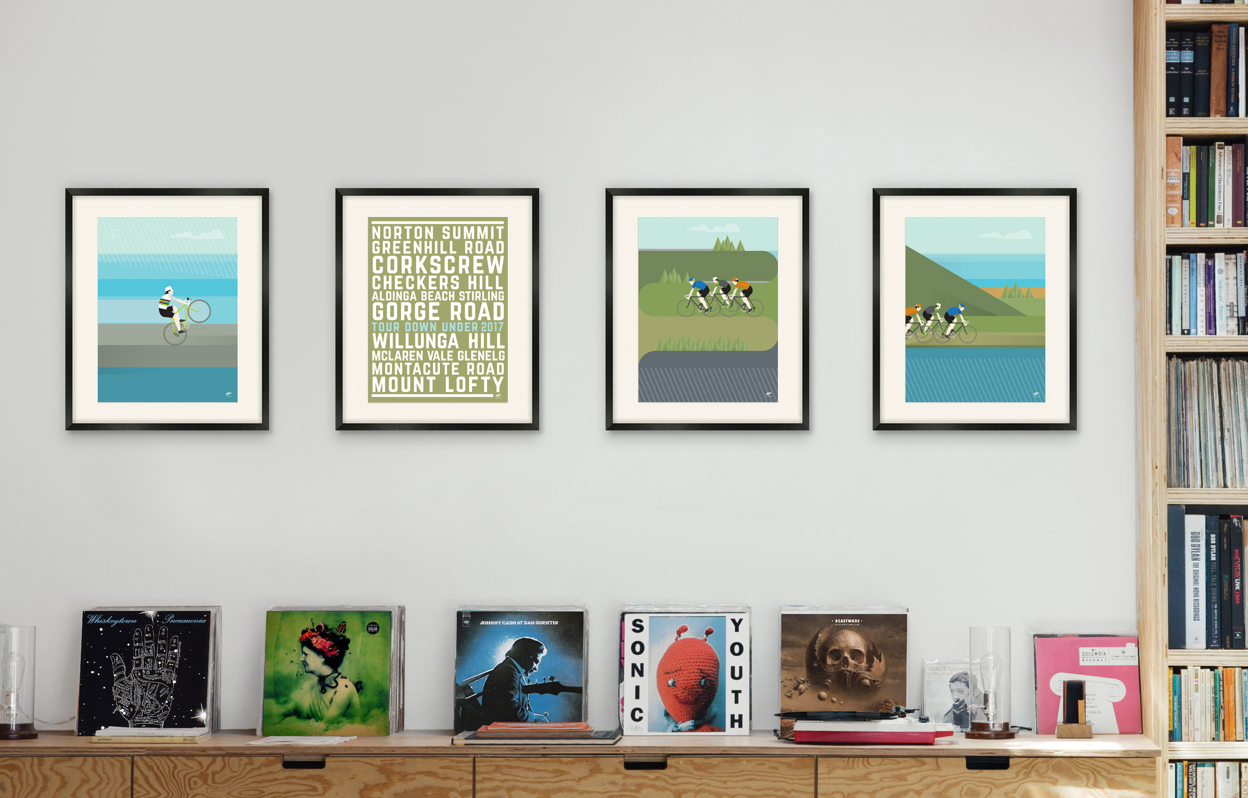velopsters, sagn triple wc, adelaide roads, corkscrew climb, willunga hill limited edition prints