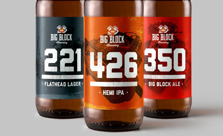 Big Block Brewing labels close up