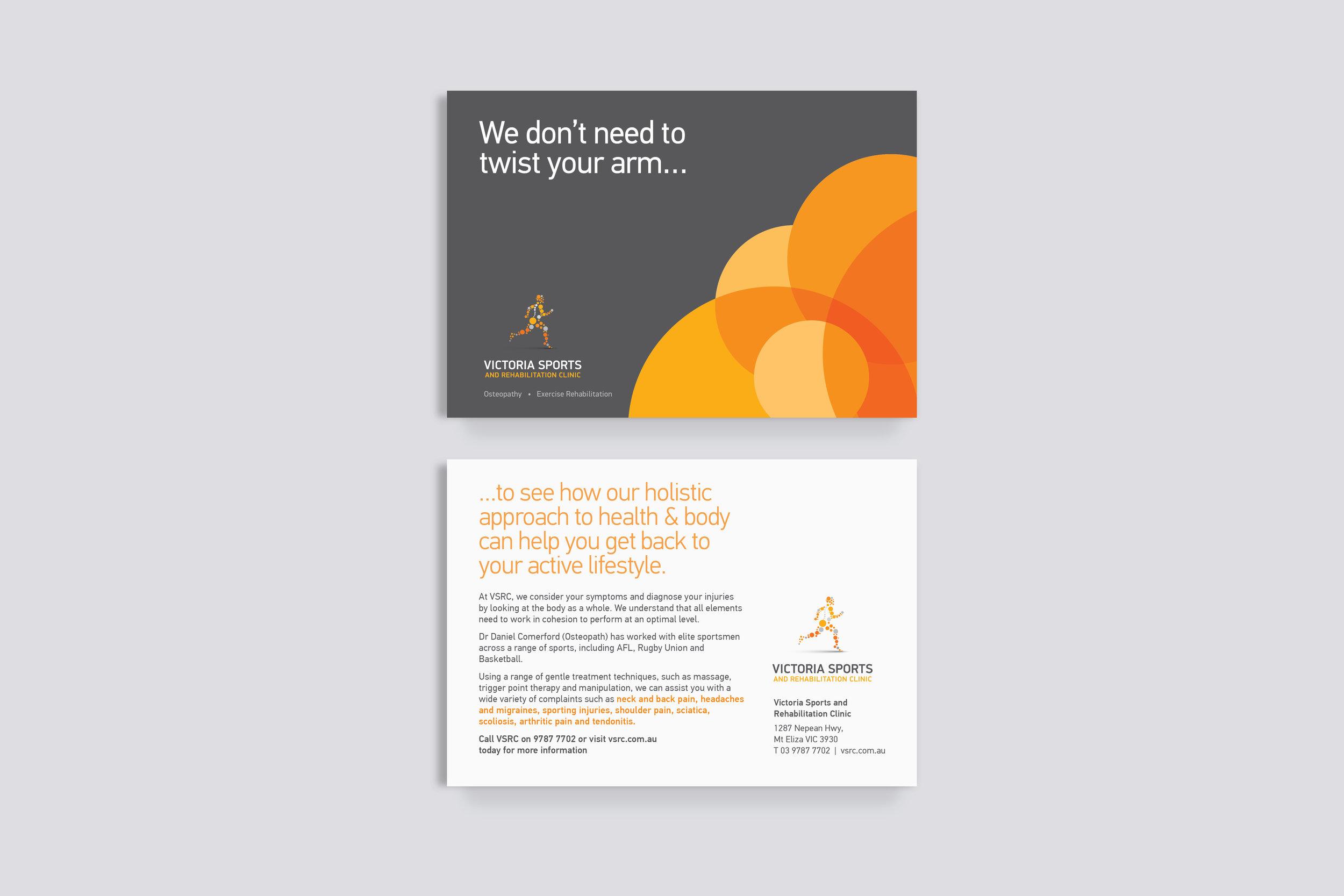 VSRC Postcard, advertising design melbourne, printed collateral, branding melbourne