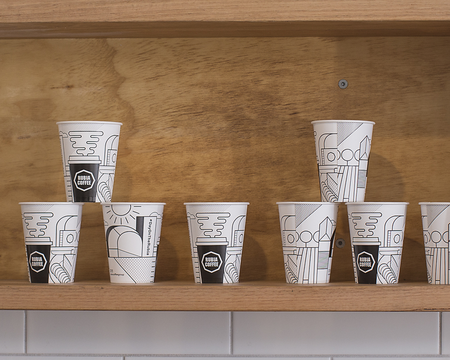 Rubia Coffee take away cups for A Day on the Green