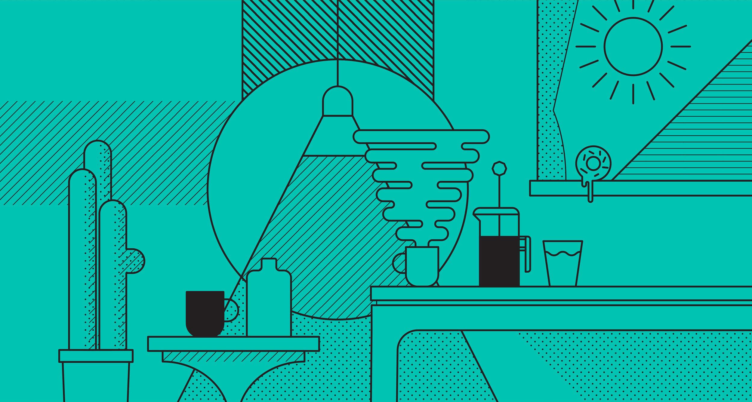 Rubia Coffee Honest Pour Illustration