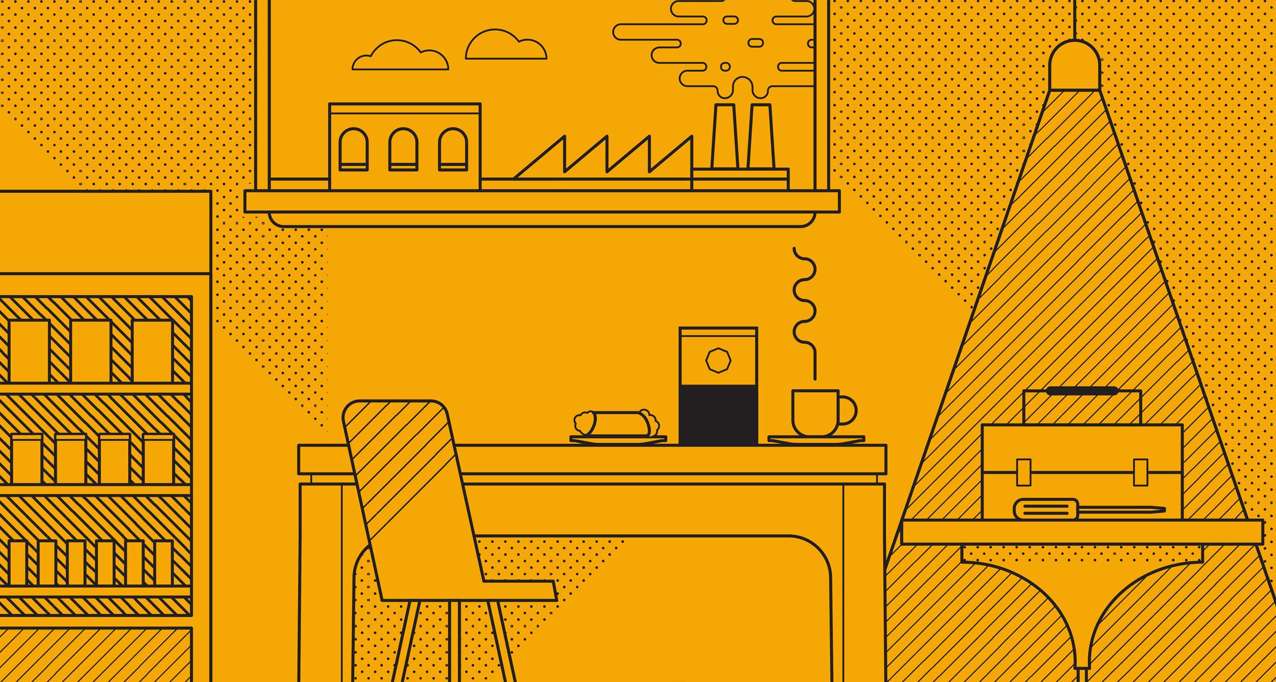 Rubia Coffee Working Class Hero illustration