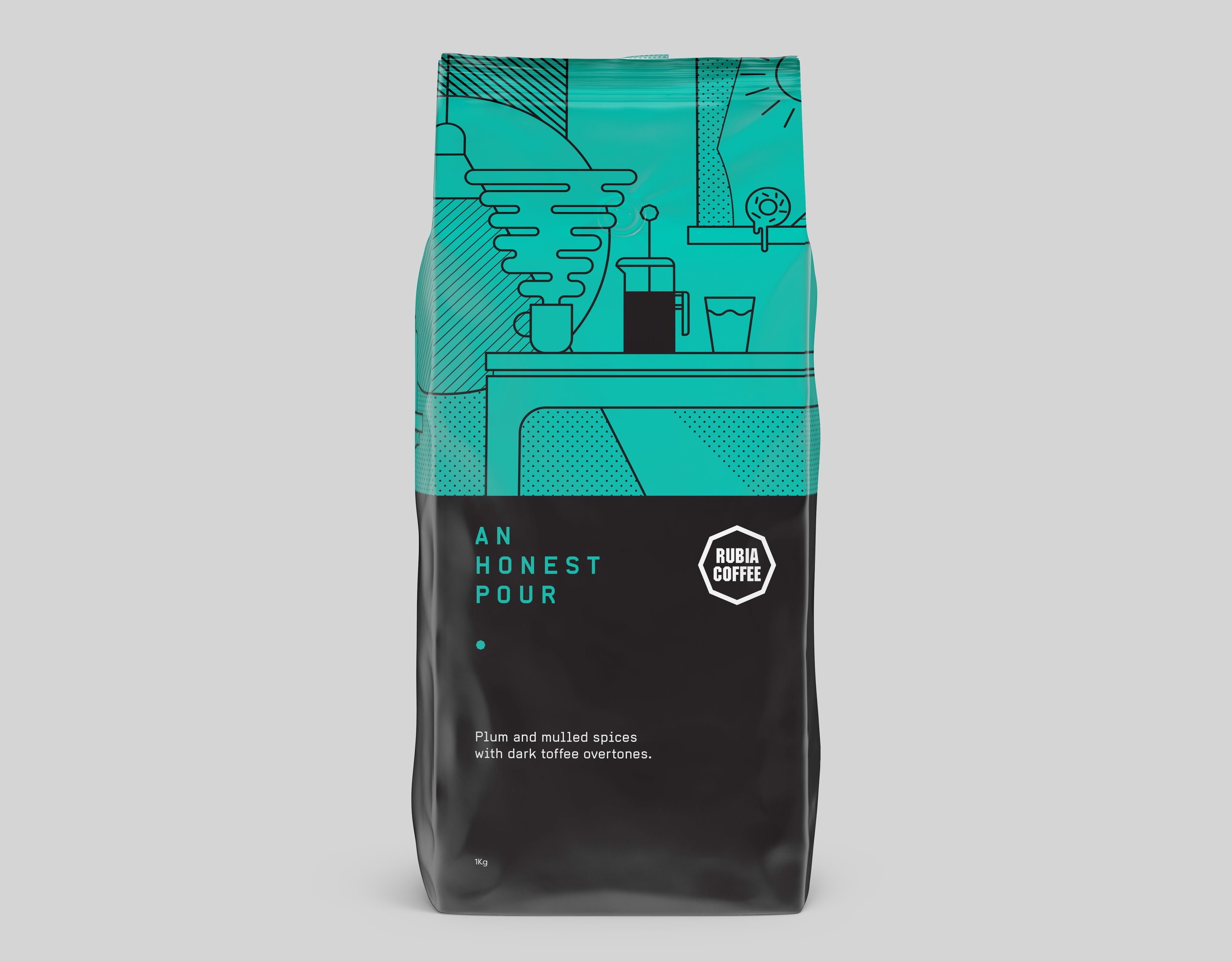 Rubia Coffee An Honest Pour packaging design Graphic design melbourne, branding design melbourne, branding design, packaging design melbourne, design studio melbourne, graphic design