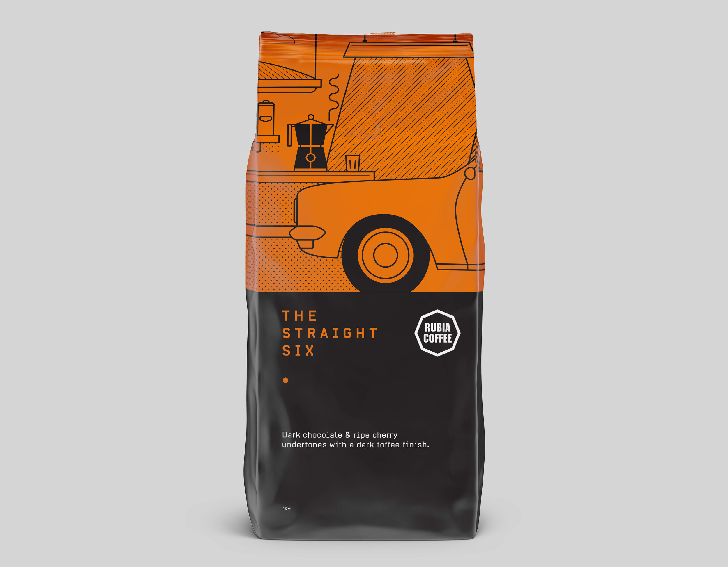 Rubia Coffee The Straight Six packaging and illustration design Graphic design melbourne, branding design melbourne, branding design, packaging design melbourne, design studio melbourne, graphic design