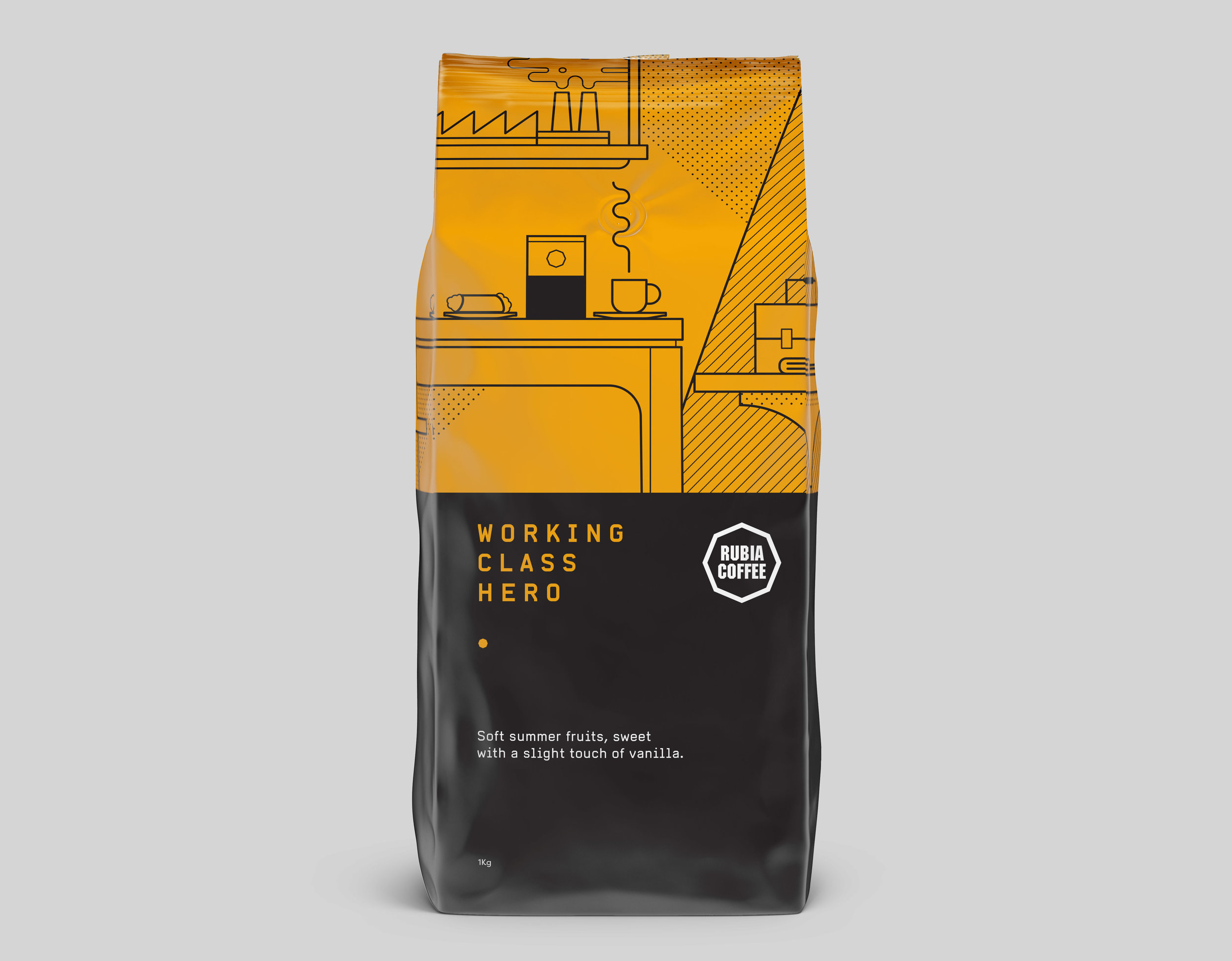 Rubia Coffee Working Class Hero packaging and illustration Graphic design melbourne branding melbourne branding design packaging design melbourne design studio melbourne graphic design