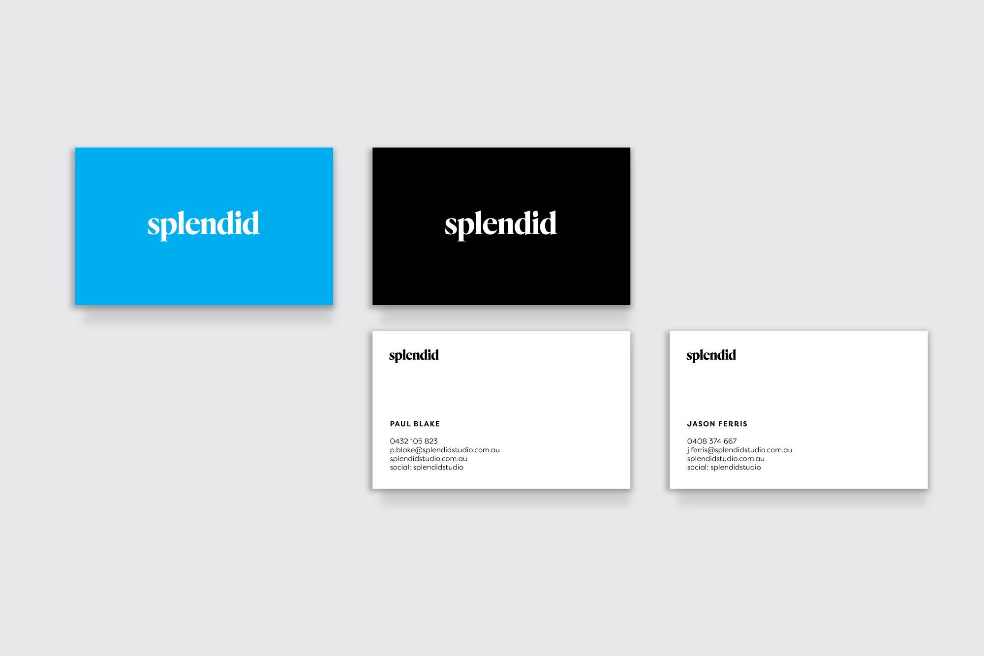 Splendid Studios Business Cards and collateral design, branding melbourne, logo design melbourne, branding design melbourne
