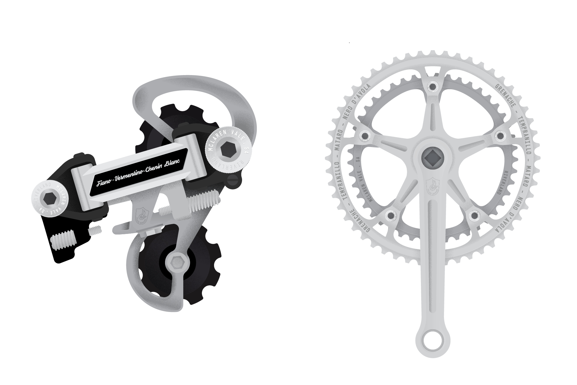 Final illustrations for Brash Higgins Gear and Derailer