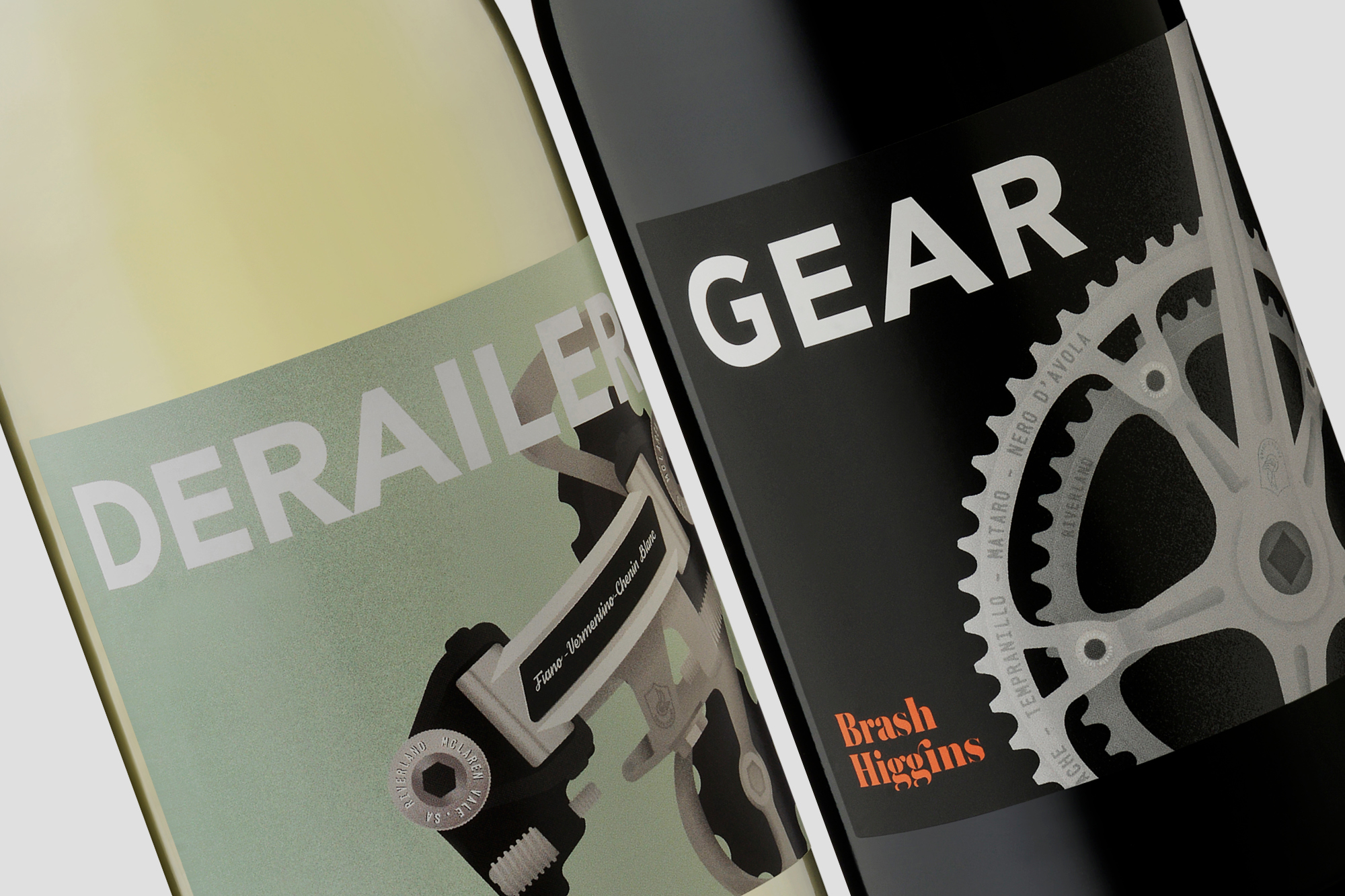 Brash Higgins wine labels for Gear and Derailer