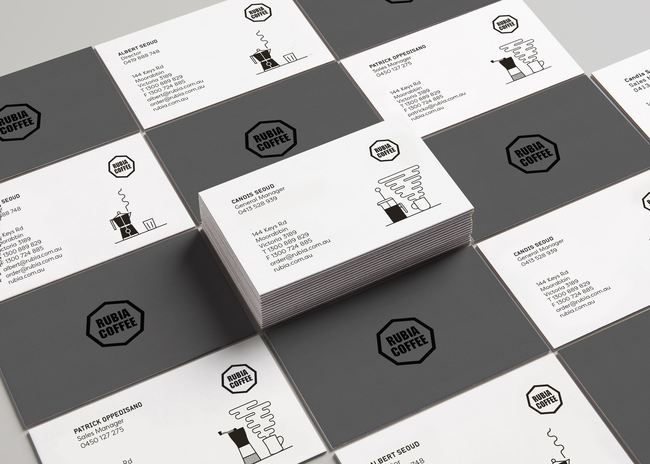 Rubia coffee business cards, logo design, branding design melbourne
