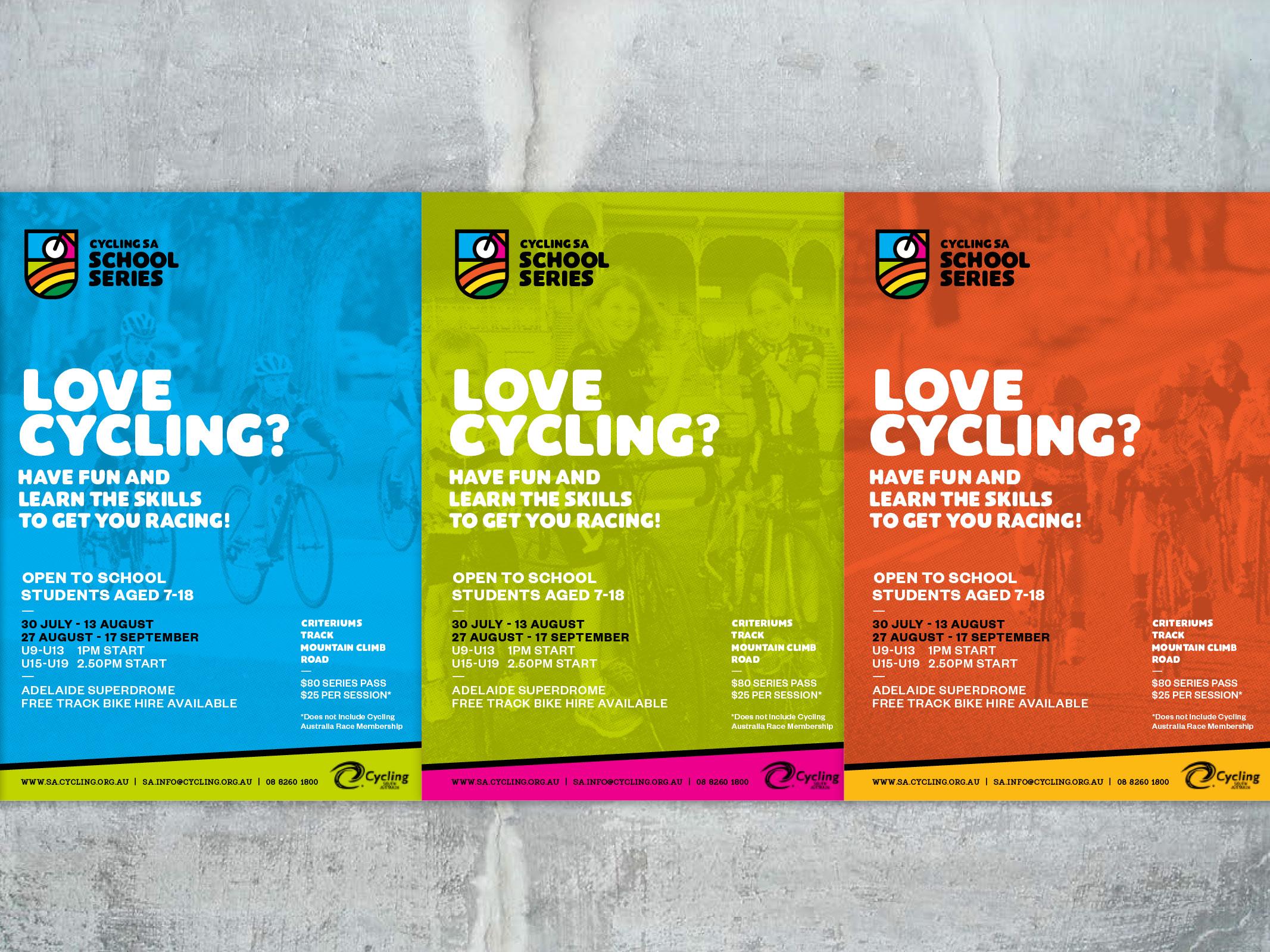 Cycling SA School Series Poster details