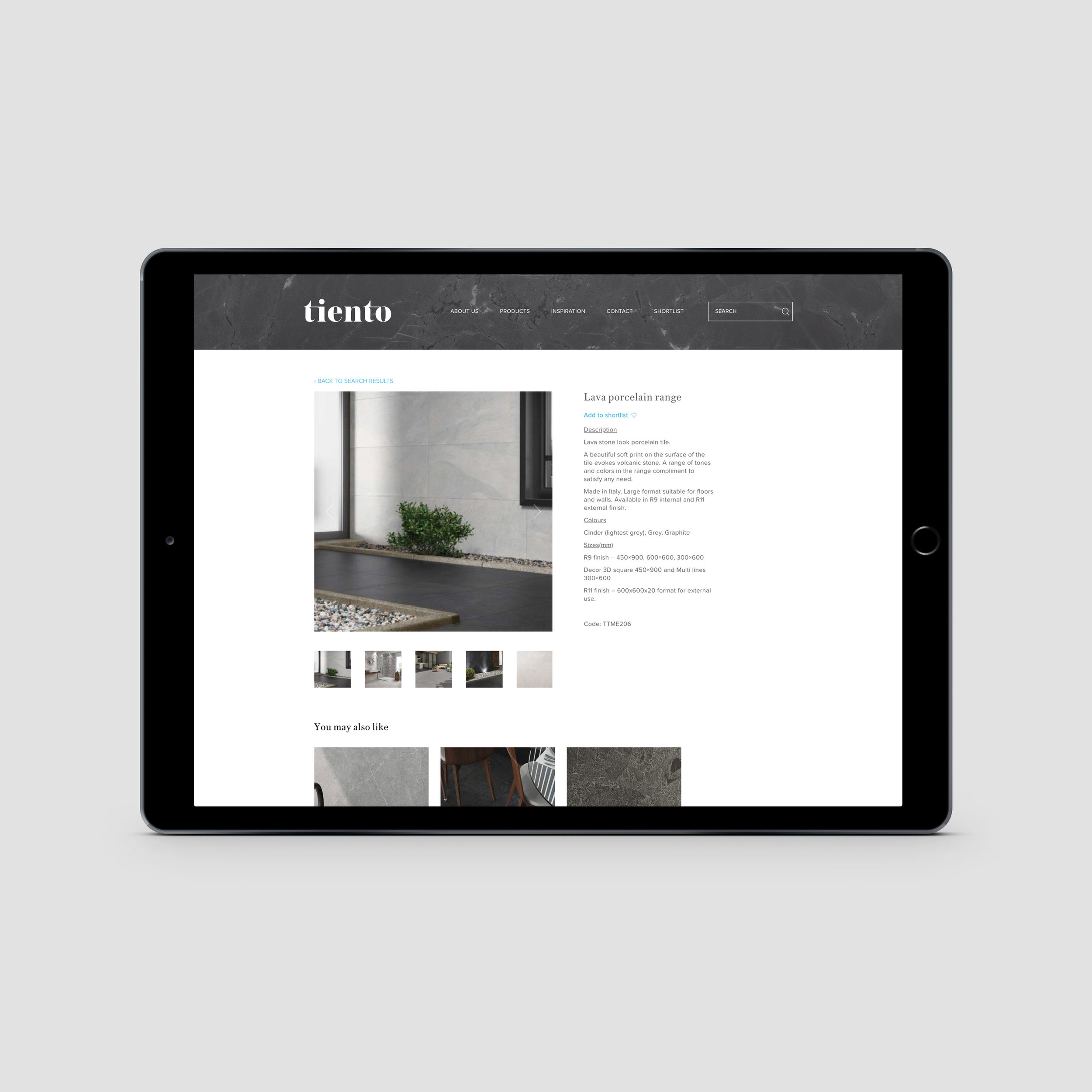 tiento website search functionality