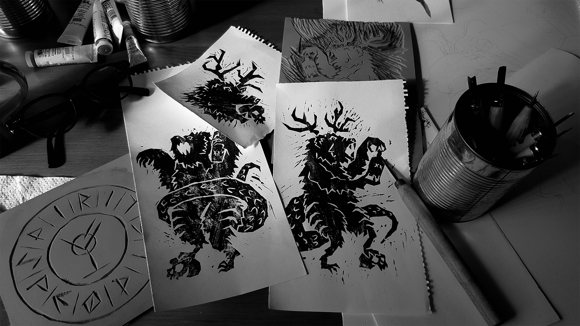 Progress shot of lino cut prints