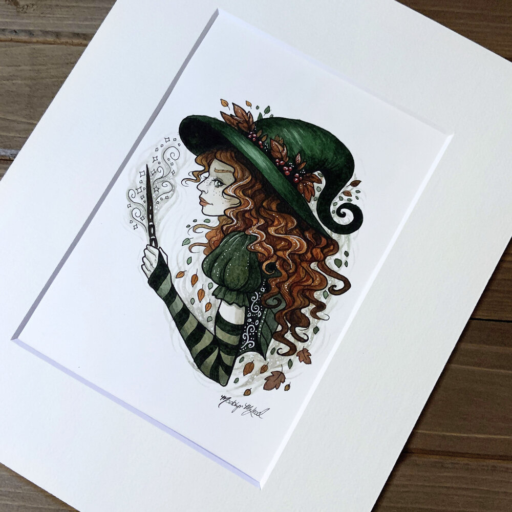 Scottish Witch Original Watercolor by Painted Willow Art Matted