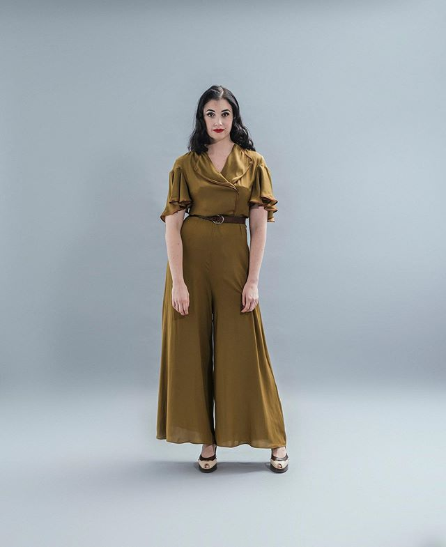 Look 7: The Verney Beach Pyjamas (Jumpsuit) In Olive with Satin Bias trim in Rust Available now, hand constructed from 1st June, 2019 #pienosoleresort #nicolandford
