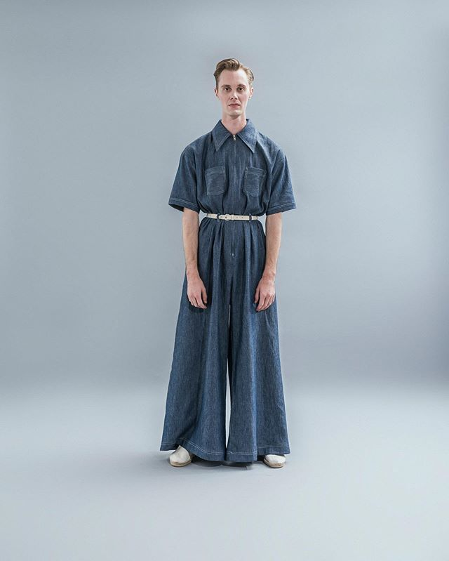 Look 8: The Chiari Unisex Jumpsuit Constructed in Chambray with contrast white double stitching Available now, hand constructed from 1st June, 2019 #nicolandford #pienosoleresort