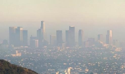 Smog  contaminates  the air over Los Angeles.