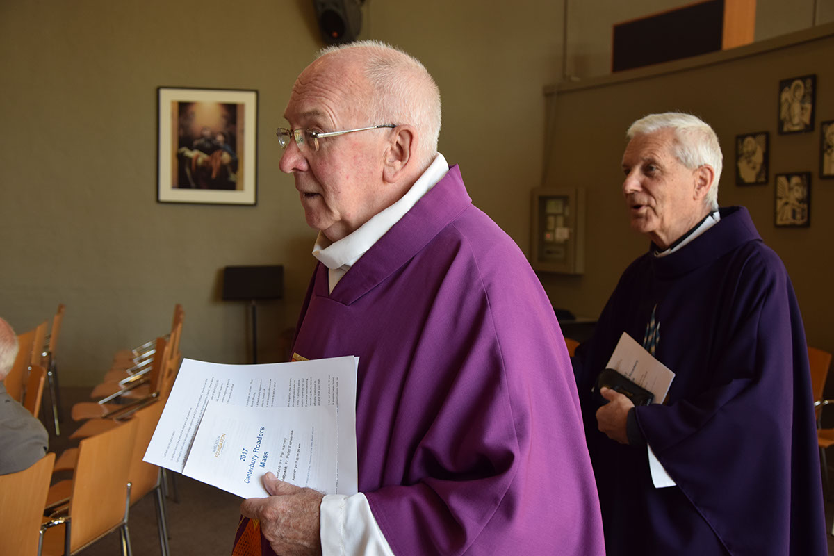 Old Collegians, Fr Pat Harvey (foreground) and Fr Peter Ferwerda concelebrated mass