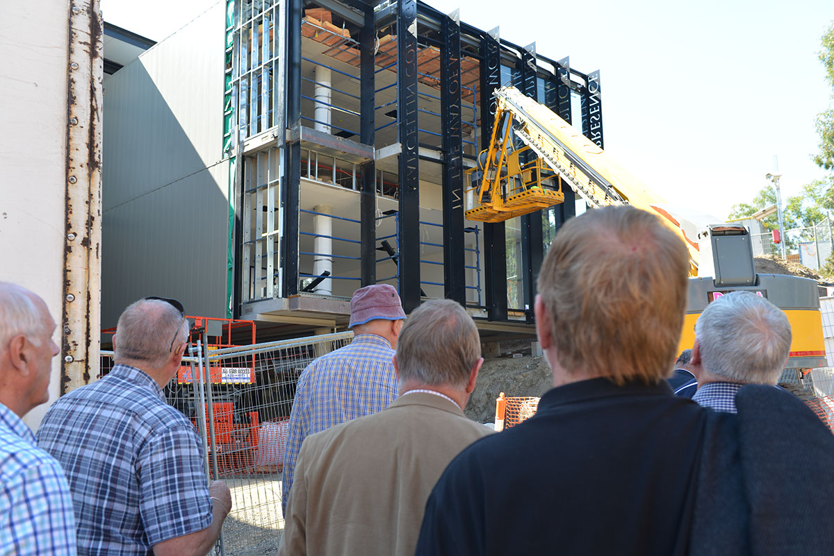 Old Collegians inspecting the new building works