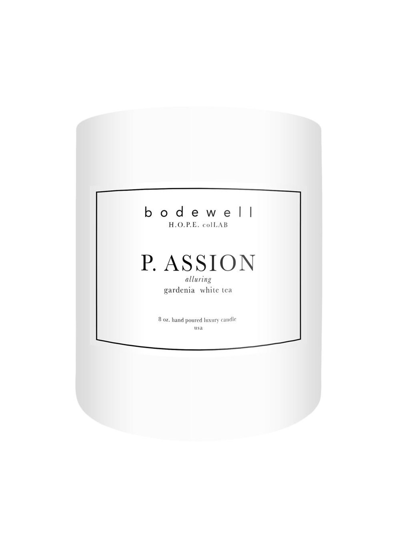 BODWELL H.O.P.E. COLLECTION P.ASSION  $36.00   gardenia, white tea, sandalwood