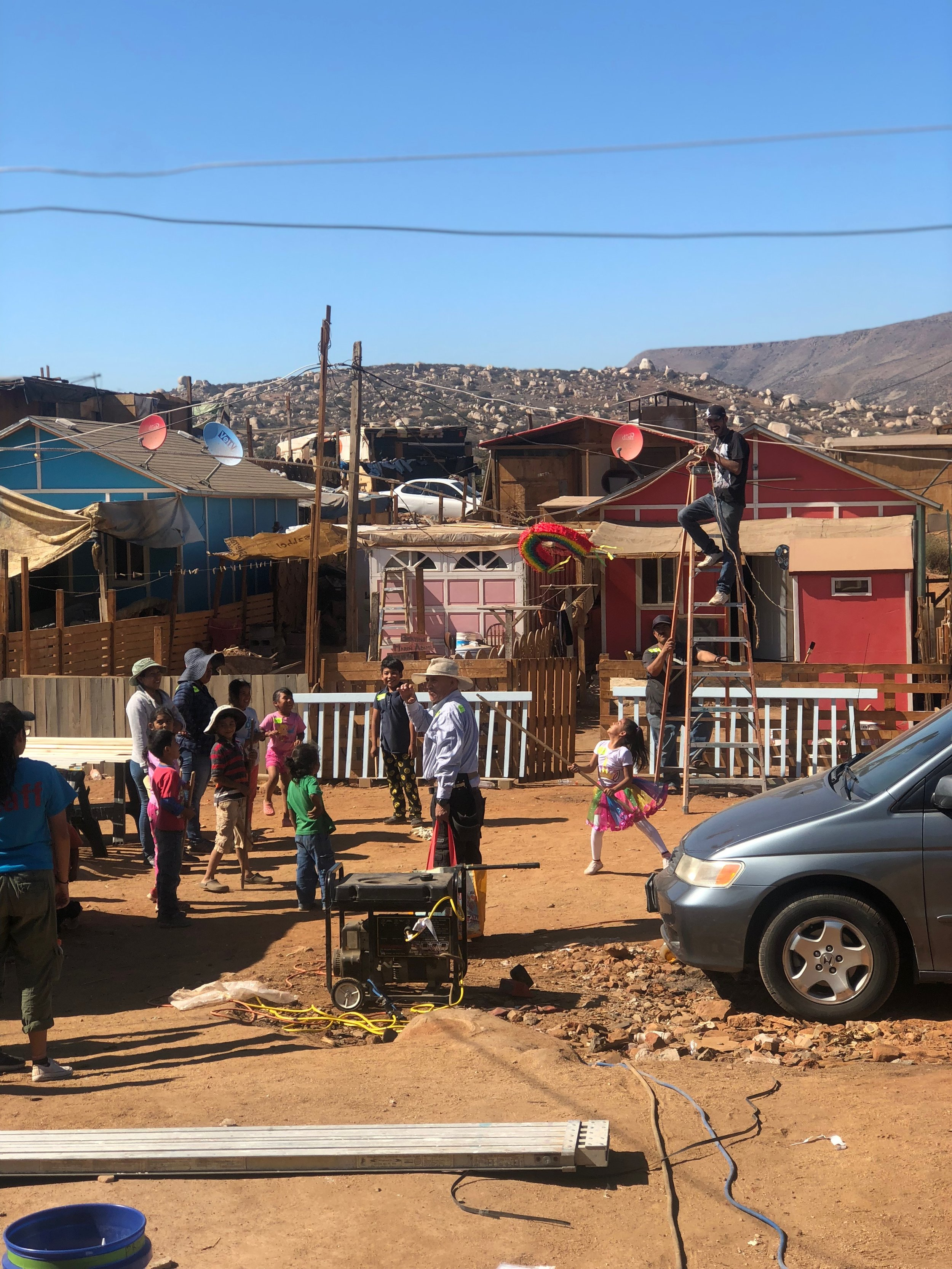 The local children having fun with their piñata. They were so happy we were there.