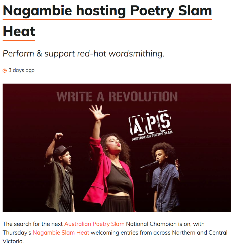 Australian Poetry Slam Nagambie Heat