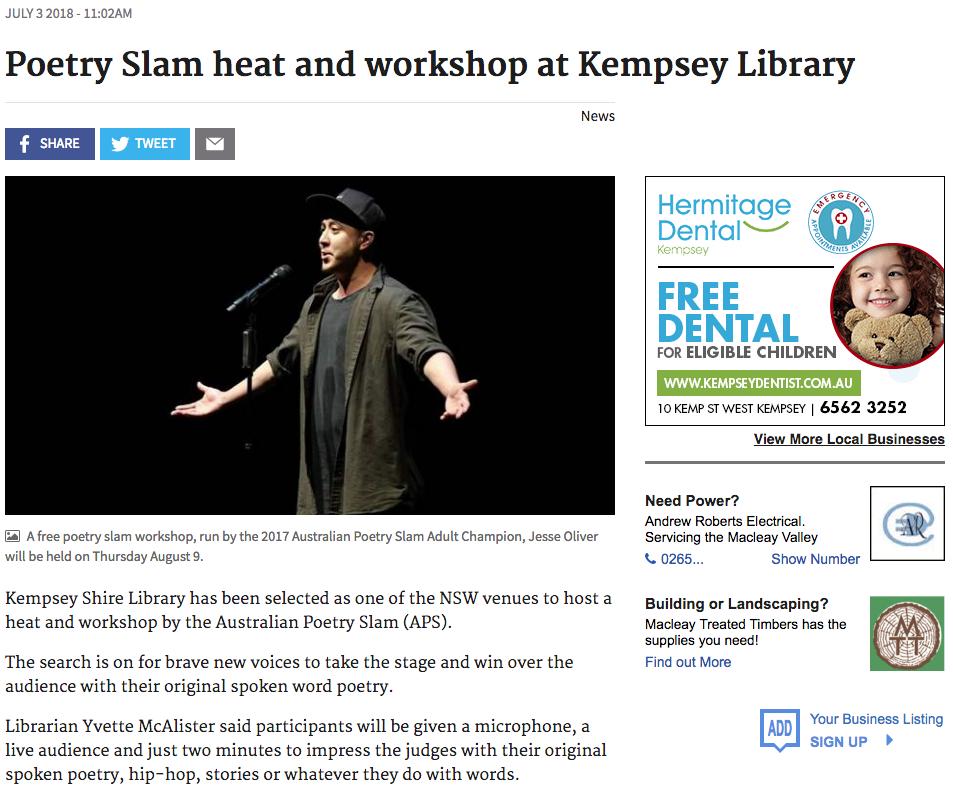 Australian Poetry Slam Kempsey Heat