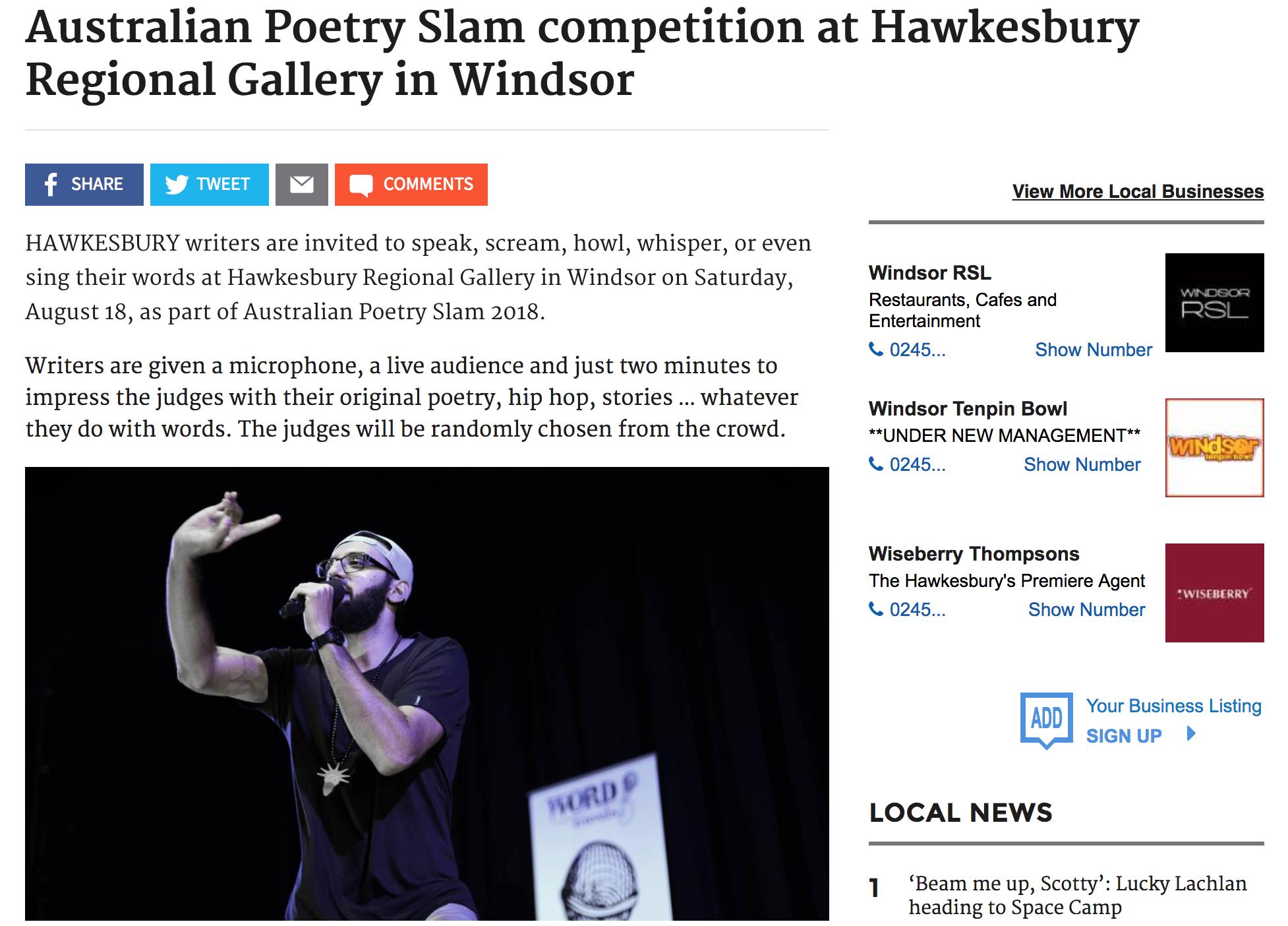 Australian Poetry Slam competition at Hawkesbury Regional Gallery in Windsor