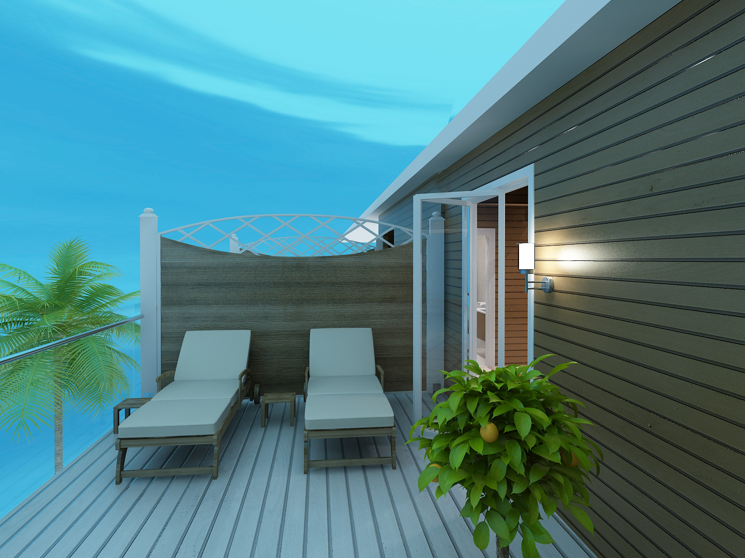 Turtle Cove - 3D Rendering of Exterior Patio with Lounge Chairs