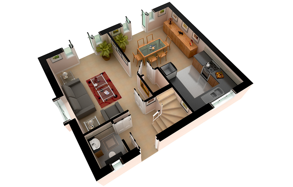 A modern apartment's 3D floor-plan rendering, viewed from the top.