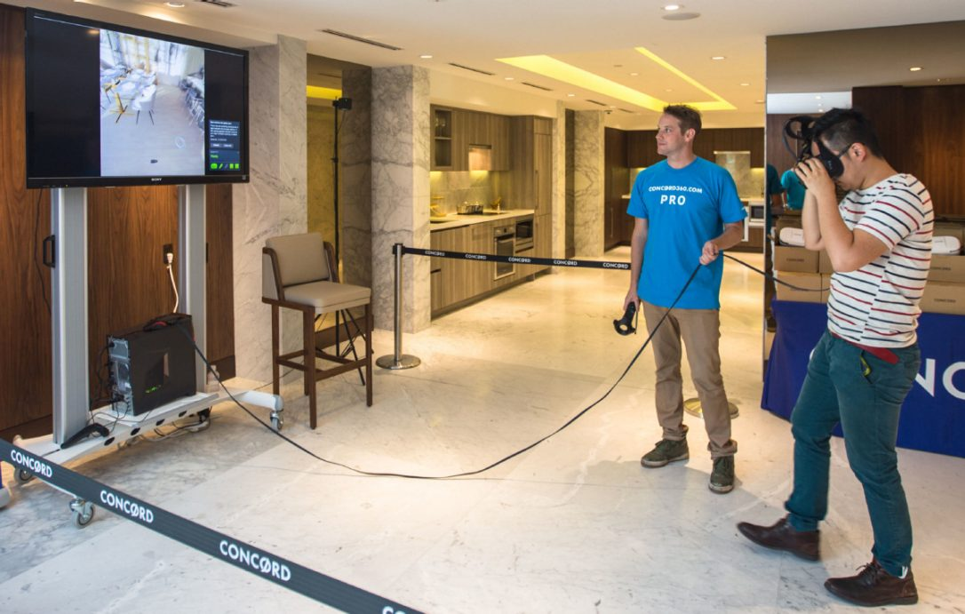 At the Concord sales centre at Spadina Ave., consumers can try on goggles tethered to a gaming computer and tour the suites at the LakeFront and LakeShore towers being built at the foot of Bathurst St.  Image source