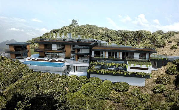 This images included as it gives a great example of how flexible 3d rendering can be. Think you need a flat surface to render a property on? No way! Just like this visualization, houses can be rendered into the side of hills / mountains. We can put mountains in the distance (see top left). We could even render an entire golf course if you wanted with all it's bunkers, greens, watercourses and other interesting features.