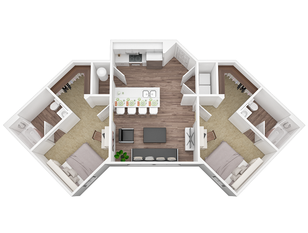 We included this one because of its uniqueness in design. This is a fairly standard top down  floor plan rendering , right down to details like faucets, clothes hanging in the wardrobe etc. But it just goes to show that no matter how creative you get (two double rooms with ensuites for instance!) we can bring your designs to life in 3D ( or   virtual reality   if you so choose ).