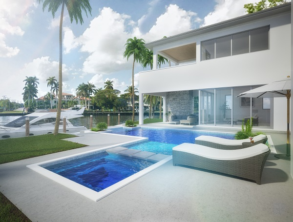 When you look at this kind of rendering, you have to really force yourself to not attempt to jump inside your screen and into the pool. A beautiful house and it's pool area that make us want to be there! Looks like an awesome place for a holiday (or to live!)
